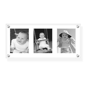 """8""""x16"""" acrylic wall holder/picture frame for your 3 photos with printing service"""