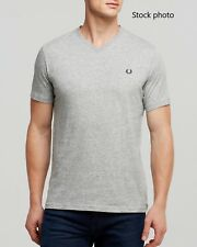 NWT Fred Perry Classic V-neck T-Shirt in Steel Marl Grey XL