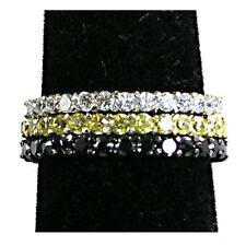 3-RING SET_PRONG_NARROW (C-Y-B) CZ ETERNITY BANDS_SZ-10__925 STERLING SILVER