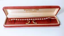 """14K Womens' Tennis Bracelet with Earrings Genuine Opal 7"""" Wrist"""
