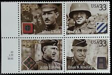 2000 33c Distinguished Soldiers, Block of 4 Scott 3393-96 Mint F/VF NH
