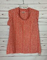 CAbi Women's M Medium Dark Orange & White Madeline Spring Summer Cute Top Blouse