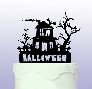 Haunted House Acrylic Cake Topper that can be personalised - Halloween