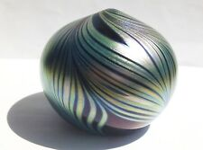 VINTAGE KENT FISKE ART GLASS IRIDESCENT PAPERWEIGHT PULLED FEATHER SIGNED 86'