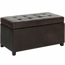 Best Choice Products Leather Storage Ottoman Bench   Brown