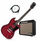 Profi E-Gitarre in rot mit 2 Humbucker im Set mit Combo-Verstärker und Kabel for sale