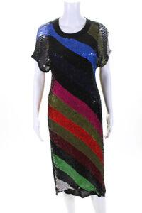 Sonia Rykiel Womens Wool Short Sleeve Sequin Knit Dress Black Blue Pink Size M