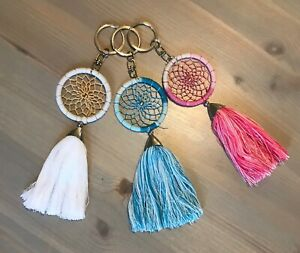 Dreamcatcher key ring tassel bag charm blue pink white dream catcher