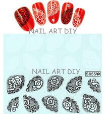 20 nail art stickers-decals water transfer-adesivi con Pizzo  Bianco e Nero