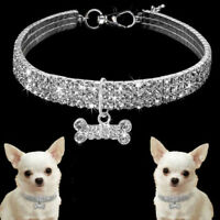 Bling rhinestone dog necklace collar diamante & pendant for pet puppy chihuahua`