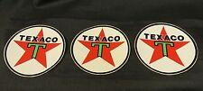 "Lot of 3 Vintage Circle Texaco Oil Company Stickers 3"" Diameter Star w/Green T"