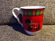 Scottish Terrier, Scotty Dog 222 Fifth Plaid Christmas Tea Cup, Coffee Mug NWOT