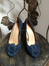 Office navy suede high heel court shoe UK 3