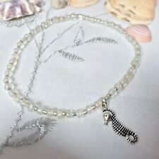 New Sea Horse Charm Anklet ~ White ~ Stretch ~ Beach Seaside Theme, Ankle Chain