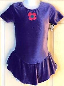 GK ICE FIGURE SKATE GIRLS SMALL SSLV PURPLE VELVET FLOWER APPLIQUÉ DRESS Sz CS