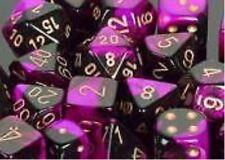 Chessex Dice Sets:Gemini Black & Purple W/Gold-Ten Sided Die d10 Set10 CHX 26240
