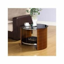 Jual Furnishings Jf303 Round Lamp / Side Table in Walnut With Black Glass