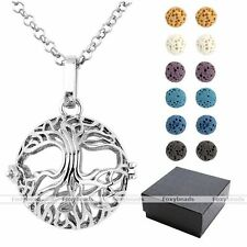 Silvery Hollow Tree of Life Locket Lava Rock Gemstone Bead Pendant Necklace Gift