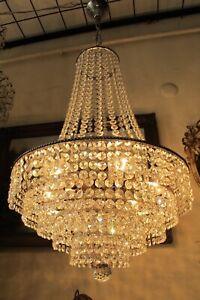Antique Vintage  French Basket style swarovski Crystal Chandelier Light Lamp