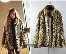 Womens Warm Leopard Print Faux Fur Jacket Coat S~XL Size Fashion A60