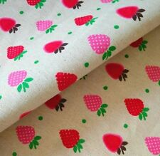 """Strawberry Printed 58"""" Wide Linen Fabric Sewing Craft Material 1 Yard ♫"""
