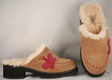 Youth UGG Australia Brown Suede Leather Shearling Lined Clogs US 4 UK 3 EUR 34