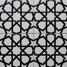 "16""x16"" (40cmx40cm) Iznik Raised Black & White Geometric Pattern Ceramic Tile"