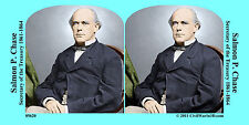 Salmon Chase Lincoln Cabinet Treasur Civil War SV Stereoview Stereocard 3D 05620
