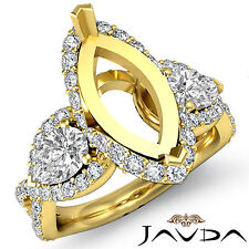 Marquise Cut Diamond Wedding 3 Stone Pear Mount Halo Ring 18k Yellow Gold 1.4Ct