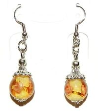 E187p Yellow Lampwork Glass Silver Tibetan Cap w Brass Hooks Dangle Earrings 1pr