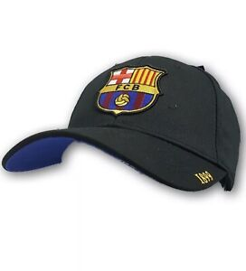 FC Barcelona Black Curved Brim Adjustable Strap Cap NWT One Size Fits Most