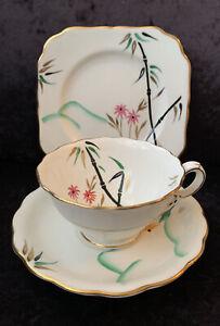 Art Deco Minton Tea Trio - Pattern Number S87 - Black Bamboo
