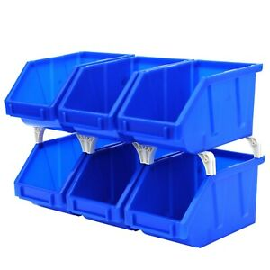 """6-Pack Stackable Storage Bins Tool Part Container Blue 5"""" w x 8"""" d x 4"""" h"""