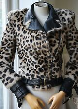 BALMAIN imprimé léopard fourrure Biker Jacket FR 36 UK 8