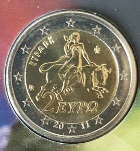 "Uncirculated 2 Euro Coin Greece  Coin Bull Europa 2011- ""The Rape of Europe"" new"