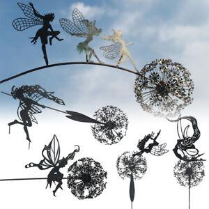 Metal Fairies Dandelions Statue Ornament Dance Garden Ornament Sculpture Decor