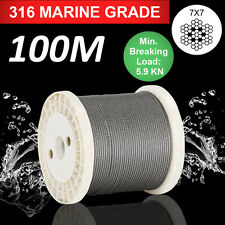 100m Marine Stainless Steel G316 Cable Wire Rope Decking Balustrade 7 X 7 3.2mm