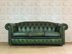 SUPERB Green Leather 3 Seater Chesterfield Club Sofa Vintage - *£88 DELIVERY*