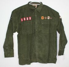 Rocawear Men's Corduroy Shirt Long Sleeve Green 100% Cotton / Patch Detail  NWT