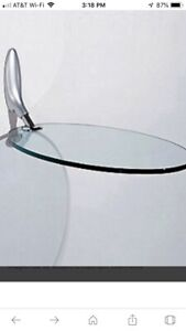 Draenert 1140 Mai Tai Oval Glass Table Swings Down When Not In Use End Table