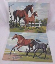 Paint By Number Horse pair lot vintage MCM art decor 16 x 12 old