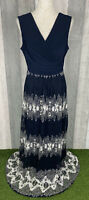 Phase Eight Navy 'Medeline' Lace Skirt Tie Waist Maxi Dress Size UK 14