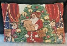 """Vintage Tapestry winter holiday Old World Christmas Throw Pillow 16"""" x 12"""""""