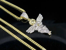 Men's 10K Yellow Gold Genuine Diamond Cherub Angel Pendant Charm Chain Set .60Ct