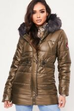 WOMENS LADIES QUILTED WINTER COAT PUFFER FUR COLLAR HOODED JACKET PARKA SIZE NEW