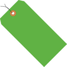 """Box Partners Shipping Tags Pre-Wired 13 Pt. 4 1/4"""" x 2 1/8"""" Fluorescent Green"""
