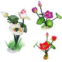 Neu Künstliche Lotus Blumen Aquarium Dekoration Kunstpflanze Wasserpflanzen