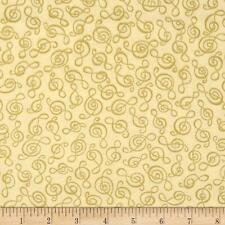 Music -Treble Clef-Gold Metallic-Cream Background Cotton Quilting Fabric 1/2YARD