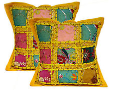 2pc Traditional Embroidered Patchwork Pillow Case Cushion Covers 12x12 Inches