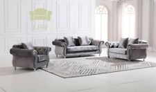 The New Chesterfield in Luxury Dark Grey Velvet 1, 2, or 3 Seater Sofa Sets